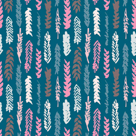 spelt: Cute decorative seamless pattern with cereals. Hand drawn colorful ink wheat ears on blue background. Cute style and trendy colors. Endless backdrop for cloth, wallpaper or wrapping Illustration
