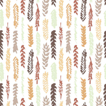 spelt: Cute decorative seamless pattern with cereals. Hand drawn yellow and brown ink wheat ears on white background. Cute style and trendy colors. Endless backdrop for cloth, wallpaper or wrapping