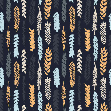 spelt: Cute decorative seamless pattern with cereals. Hand drawn colorful ink wheat ears on dark background. Cute style and trendy colors. Endless backdrop for cloth, wallpaper or wrapping