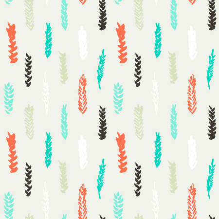 spelt: Cute decorative seamless pattern with cereals. Hand drawn colorful ink wheat ears on white background. Cute style and trendy colors. Endless backdrop for cloth, wallpaper or wrapping