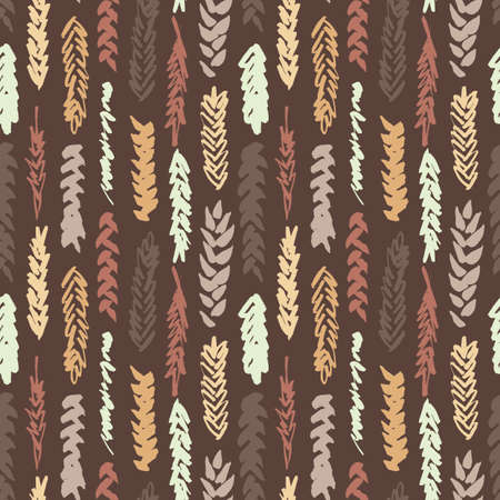 spelt: Cute decorative seamless pattern with cereals. Hand drawn yellow and brown ink wheat ears on dark background. Cute style and trendy colors. Endless backdrop for cloth, wallpaper or wrapping