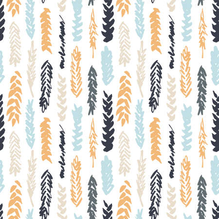 Cute decorative seamless pattern with cereals. Hand drawn colorful ink wheat ears on white background. Cute style and trendy colors. Endless backdrop for cloth, wallpaper or wrapping