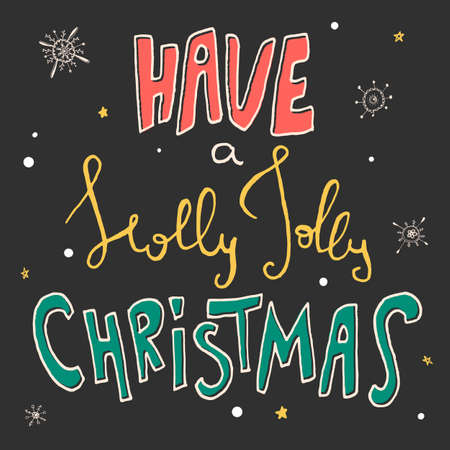 gold snowflakes: Decorative Xmas Card. Handwritten vector lettering - modern ink calligraphy. Handdrawn colorful phrase Have a Holly Jolly Christmas on black background with whit and gold snowflakes and stars. Illustration