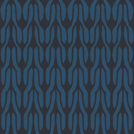 Decorative knit seamless pattern. Hand drawn endless balck and blue knitting ornament. Trendy messy knitwork texture. Vector design for cloth, backdrops, apparel, wrapping, wallpaper Illustration