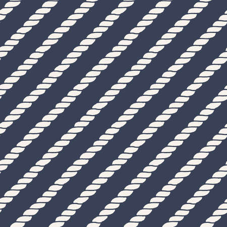 cable knit: Marine rope line seamless pattern. Endless navy illustration with beige rope ornament, diagonal cord strokes on dark blue background. Trendy textured backdrop. Vector for fabric, wallpaper, wrapping.