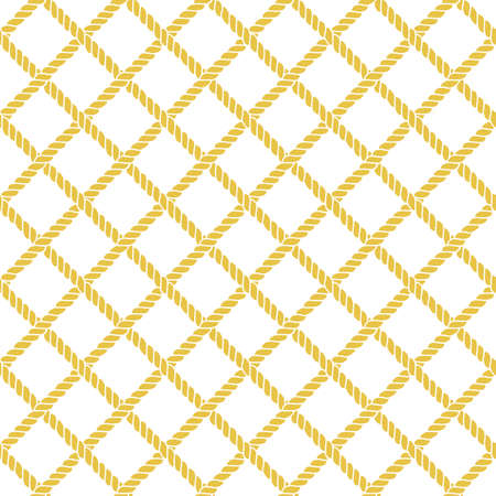 Marine rope line seamless pattern. Endless navy illustration with yellow rope ornament, crossing cord strokes on white background. Trendy textured backdrop. Vector for fabric, wallpaper, wrapping.