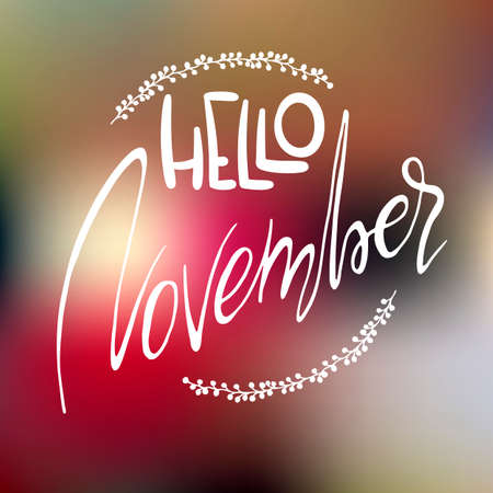 Decorative card with handdrawn lettering. White handlettering with floral frame on blurred colorful background. Trendy handwritten modern ink calligraphy. Hello November - Months collection - vector Illustration