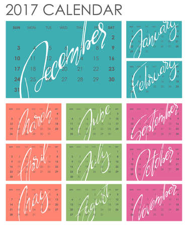 planners: Calendar 2017 - Vector template. Creative artistic monthly calendar with hand lettering. Colorful bright trendy colors. For planners and organizers - 4 x 6 inches month background. Weeks starts sunday Illustration
