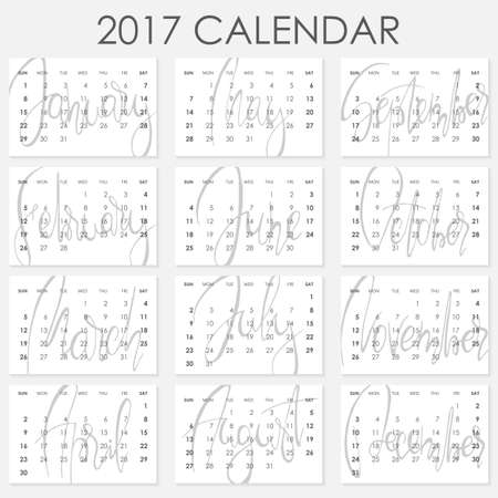 planners: Calendar 2017 - Vector template. Creative artistic monthly calendar with hand lettering. Simply design on white. For planners and organizers - 4 x 6 inches month background. Weeks starts sunday