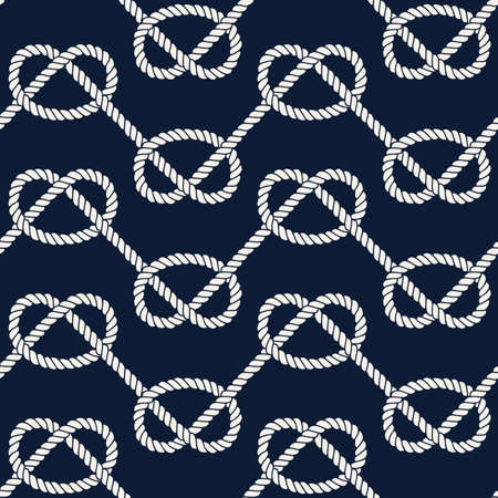 overhand: Seamless nautical rope pattern. Endless navy illustration with white loop ornament, overhand marine knots on dark blue backdrop. Trendy maritime style background. For fabric, wallpaper, wrapping