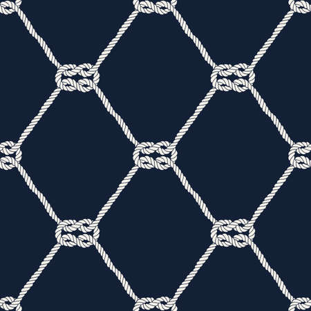 Seamless nautical rope pattern. Endless navy illustration with white loop ornament. Marine square knots on dark blue backdrop. Trendy maritime style background. For fabric, wallpaper, wrapping