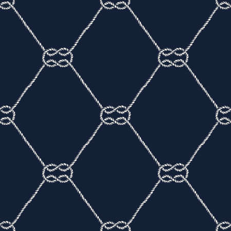 fishnet: Seamless nautical rope pattern. Endless navy illustration with white loop ornament. Marine square knots on dark blue backdrop. Trendy maritime style background. For fabric, wallpaper, wrapping