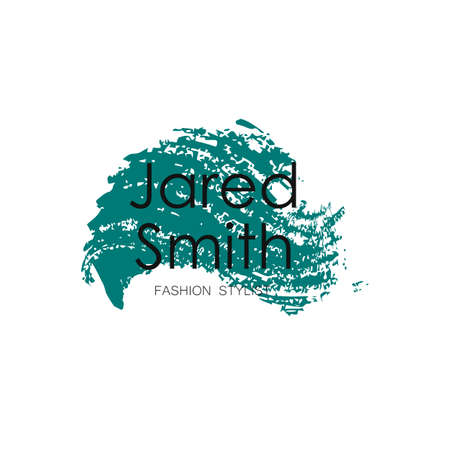 Makeup Artist design logo template. Handdrawn green mascara texture frame isolated on white background. Creative fashion stylist emblem. Perfect for logotype and business card.