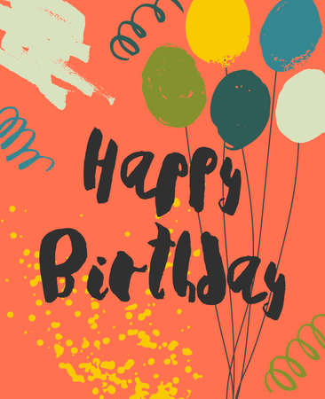 Colorful Happy Birthday Card template. Playful handwritten black script, bright balloons, confetti and splashes on yellow background. Vector illustration. Easy to use and edit.