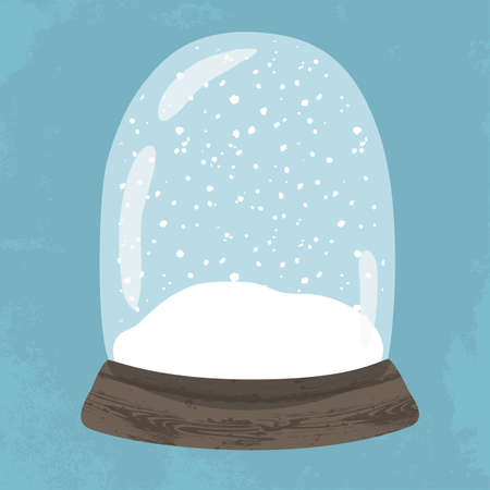 Bright illustration of cute handdrawn snow globe. Decorative vector clipart element. Empty glass ball with wood base on blue textured background. Fully editable christmas template in trendy colors Illustration