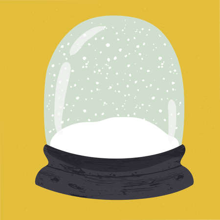 Bright illustration of cute handdrawn snow globe. Decorative vector clipart element. Empty glass ball with wood base on yellow textured background. Fully editable christmas template in trendy colors