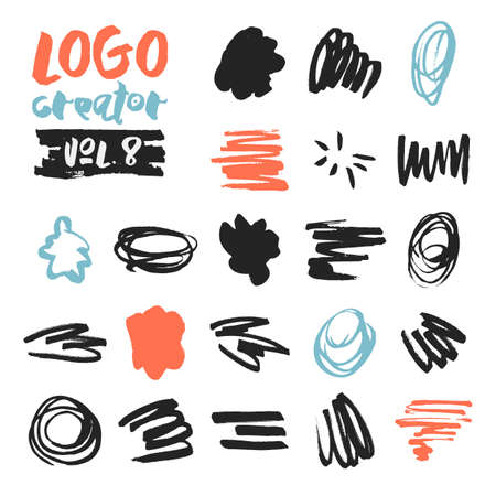 sketched: Set of 21 unique ink sketched shapes for logotype, brand style, badge or emblem. Handdrawn textured vector elements with rough edges isolated on white background. Logo creator collection. Illustration