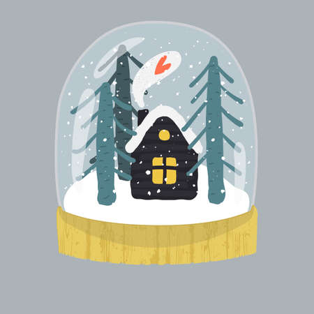 Decorative illustration of handdrawn snow globe. Bright glass ball with cute house and fir trees in wood base isolated on gray background. Fully editable christmas vector clipart in trendy colors Illustration