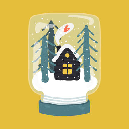Decorative illustration of handdrawn snow globe. Bright glass jar with cute house and fir trees in wood base isolated on yellow background. Fully editable christmas vector clipart in trendy colors