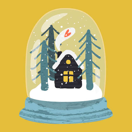 Decorative illustration of handdrawn snow globe. Bright glass ball with cute house and fir trees in wood base isolated on yellow background. Fully editable christmas vector clipart in trendy colors