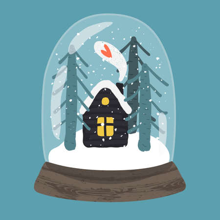 Decorative illustration of handdrawn snow globe. Bright glass ball with cute house and fir trees in wood base isolated on blue background. Fully editable christmas vector clipart in trendy colors Illustration