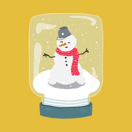 Decorative illustration of handdrawn snow globe. Bright glass jar with cute snowman in wood base isolated on yellow background. Fully editable christmas vector clipart in trendy colors