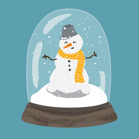 Decorative illustration of handdrawn snow globe. Bright glass ball with cute snowman in wood base isolated on blue background. Fully editable christmas vector clipart in trendy colors Illustration