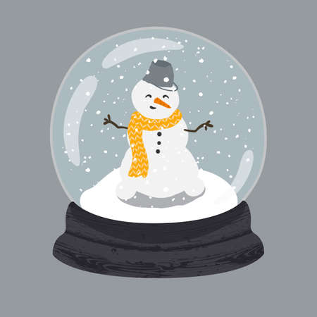 Decorative illustration of handdrawn snow globe. Bright glass ball with cute snowman in wood base isolated on grey background. Fully editable christmas vector clipart in trendy colors Illustration