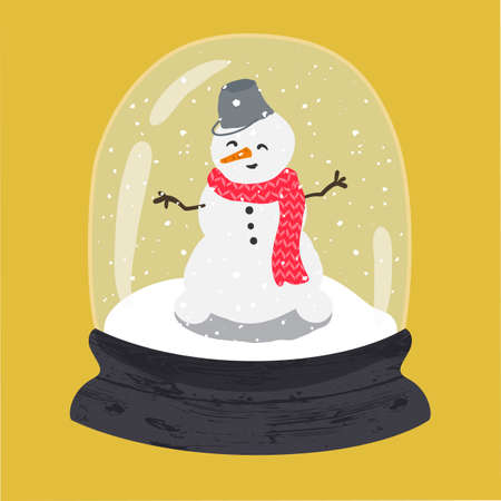 Decorative illustration of handdrawn snow globe. Bright glass ball with cute snowman in wood base isolated on yellow background. Fully editable christmas vector clipart in trendy colors Illustration