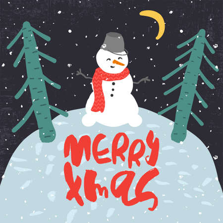 blizzards: Cute Decorative greeting card with snowman and trees on the hill. Trendy childish style xmas poster. Colorful textured vector illustration with handwritten lettering.