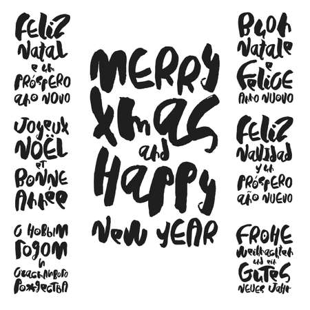 Set of 7 decorative handdrawn lettering. Modern ink calligraphy. Merry Christmas and Happy New Year in different European languages. Handwritten black phrases on white background. Vector elements.