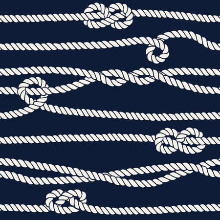 overhand: Marine rope knot seamless pattern.