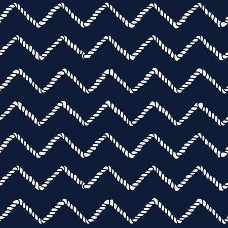 船舶用ロープ シームレス実線。ベージュ ロープ飾り、暗い青色の背景の水平ケーブルのシェブロンと無限の海軍イラスト。トレンディな織り目加工  イラスト・ベクター素材