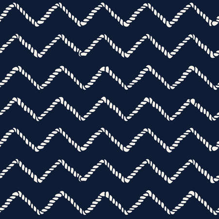 Marine rope line seamless pattern. Endless navy illustration with beige rope ornament, horizontal cord chevron on dark blue background. Trendy textured backdrop. Vector for fabric, wallpaper, wrapping Иллюстрация