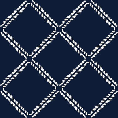 Endless navy illustration with white cord ornament on dark blue backdrop. Trendy maritime style background. For fabric, wallpaper, wrapping
