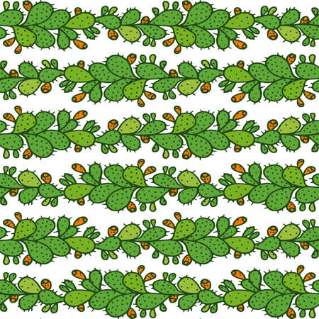 Seamless pattern with prickly pear cactus