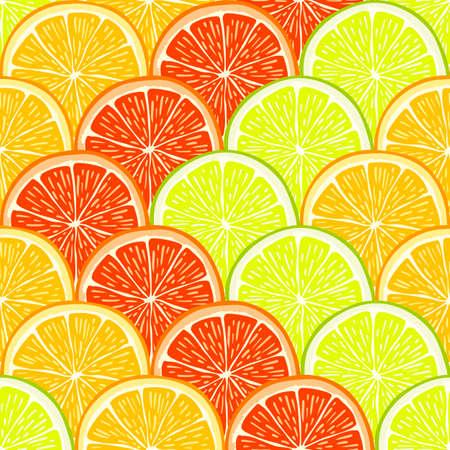 Fresh geometric seamless pattern with hand drawn orange, lemon and grapefruit slices. Illustration