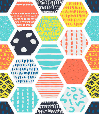 Colorful seamless patterns with honeycombs. Multicolor endless background with textured cells on white. Handdrawn stylish doodle ornament for fabric, wrapping, packaging paper, wallpaper, backdrop