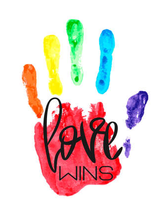 Conceptual poster with hand lettering and handprint. Black handwritten phrase Love Wins and LGBT rainbow Palm print isolated on white. Vector Romantic illustration for Valentines day, wedding