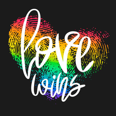 Conceptual poster with hand lettering and fingerprint heart. White handwritten phrase Love Wins and LGBT rainbow thumbprint isolated on black. Vector Romantic illustration for Valentines day, wedding Vettoriali