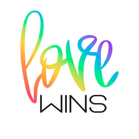 Conceptual poster with rainbow hand lettering. Colorful handwritten phrase Love Wins isolated on white. Vector typographic element. Romantic illustration for Valentines day, wedding