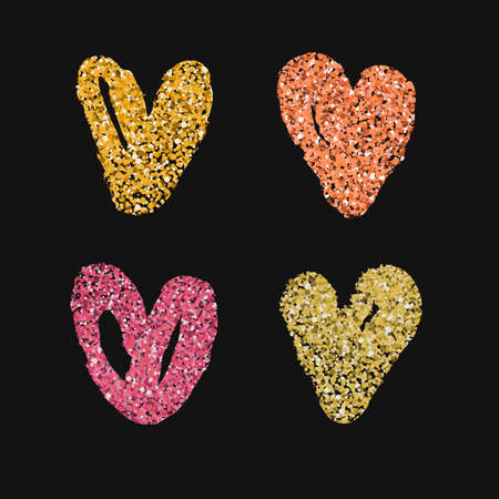 Set of 4 decorative hearts. Hand drawn colorful messy shapes isolated on white background. Stylish vector design elements for valentines day, wedding or logo creation. Illustration