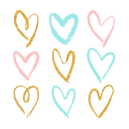 Set of 9 decorative hearts. Hand drawn colorful messy shapes isolated on white background. Stylish vector design elements for valentines day, wedding or logo creation.