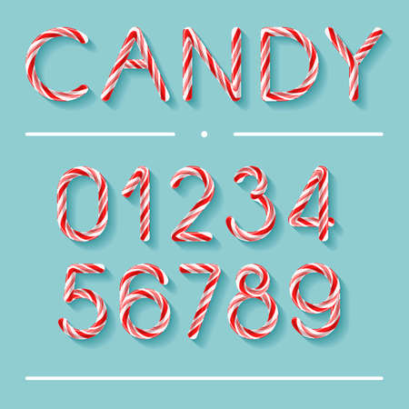 Candy Cane Font - Numbers Vector illustration.
