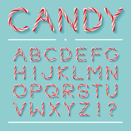 Candy Cane Font. Bright twisted red and white lollypop letters with light grey shadow isolated on mint background. Uppercase characters, exclamation and question marks. Realistic glossy style.