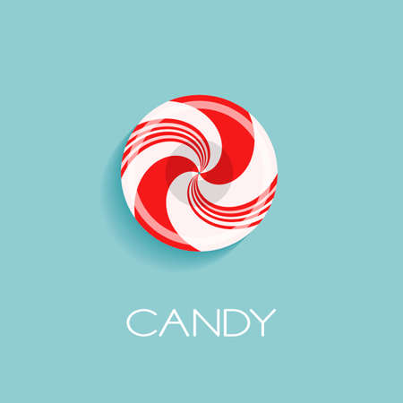 Bright poster with candy drop and sample text. Red and white glossy realistic lollipop with shadow isolated on spearmint color background. Vector design for icon, logo or branding