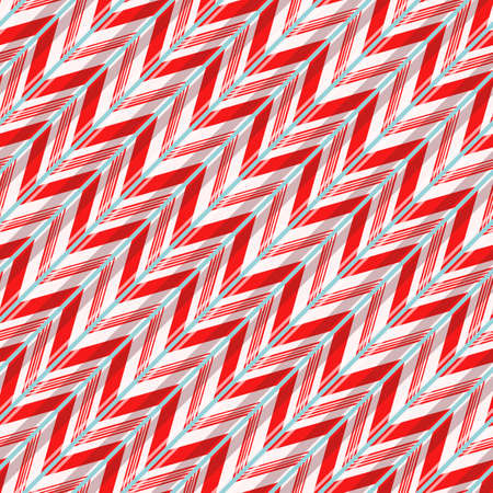 Seamless pattern with candy diagonal strokes. Bright red and white lines on spearmint color background. Vector illustration.