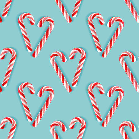 Seamless pattern with candy cane hearts.
