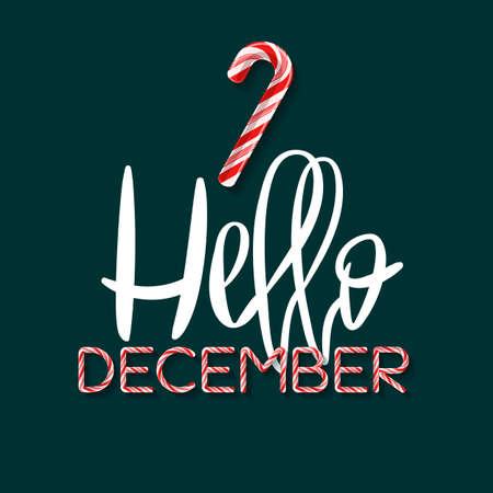 Hello December - creative poster Ilustração