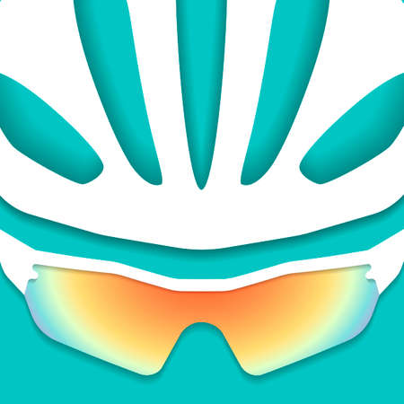 Illustration of cyclist helmet with glasses